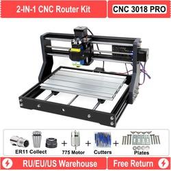 RU/UE almacén actualizado DIY CNC 3018 láser PRO maquina enrutadora grabador con GRBL Software 500MW 2500MW 5,5 W 15W para