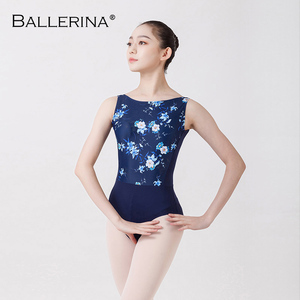 Image 4 - Collant de balé feminino dancewear treinamento profissional ginástica impressão digital aberto volta sexy collant bailarina 2507