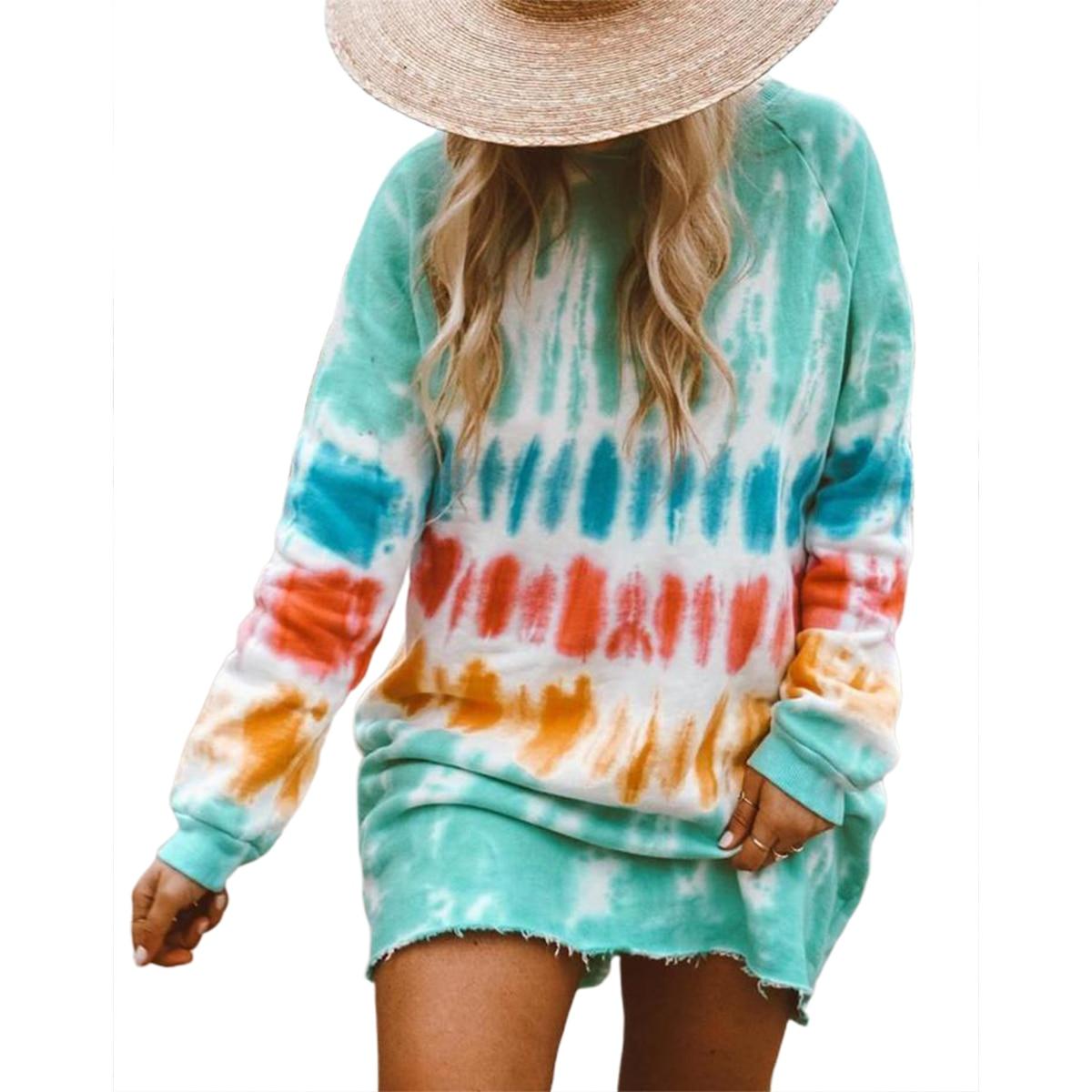 hirigin New Casual Rainbow Tie Dye Print Sweatshirt Dress for Women Long Sleeve O-Neck Mini Dress Female Loose Straight Dress