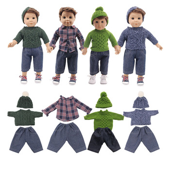 New Christmas doll sweater three-piece suit for 18-inch American baby doll & 43 cm bald doll, children's birthday gift image