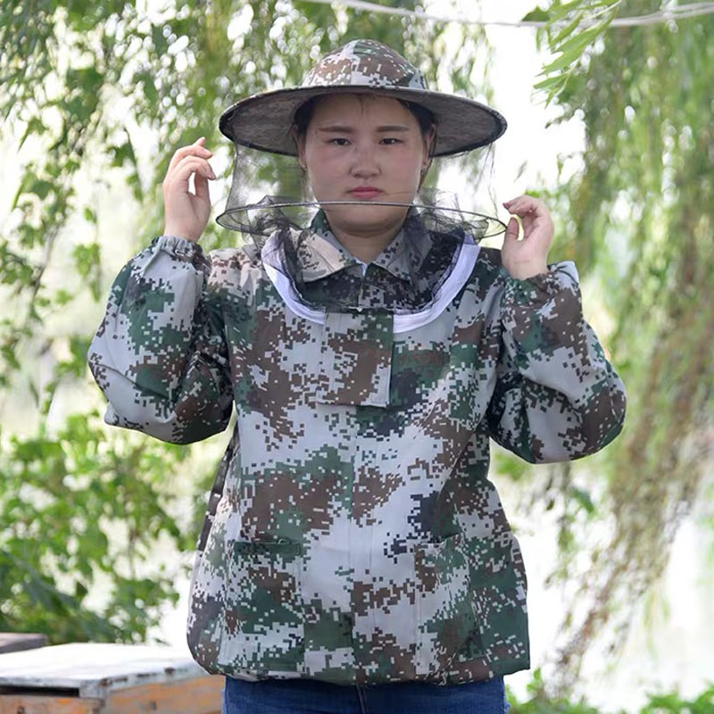 New Beekeeping Half Body Protective Jacket Veil Smock Equipment Supplies Beekeeping Hat Sleeve Suit Anti bee Safe Clothing Large in Protective Clothing from Home Garden