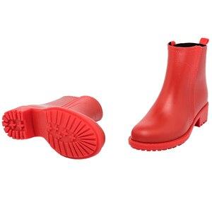 Image 5 - Damlama kadın kısa çizmeler su geçirmez kaymaz moda yağmur ayakkabıları kadın ayak bileği Chelsea yağmur çizmeleri ayakkabı kadın