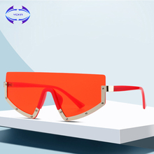 VCKA büyük boy güneş gözlüğü yarım çerçeve kadın UV400 moda stil güneş gözlüğü kadın büyük yapışık lens ünlü Shades óculos