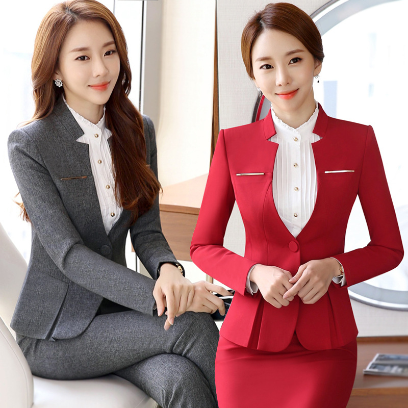 IZICFLY New Autumn Spring Sequin Suit Women Office Uniform Style Business Ladies Pants Suits Work Wear Blazer Set With Trouser