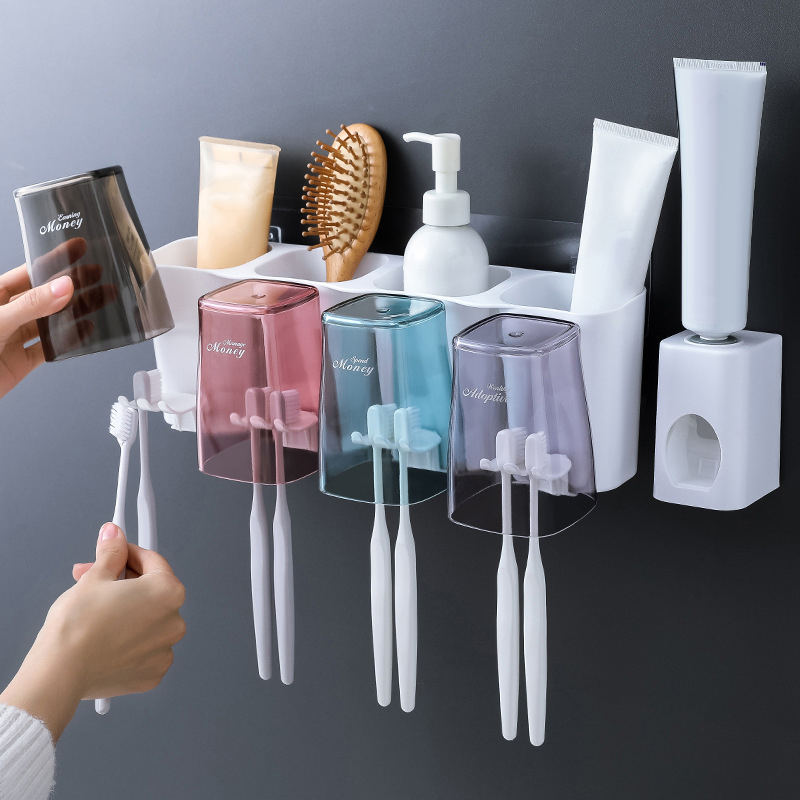 Household Wall Mount Toothbrush Holder Automatic Toothpaste Dispenser Mouth Cups Bathroom Makeup Shampoo Storage Rack Organizer