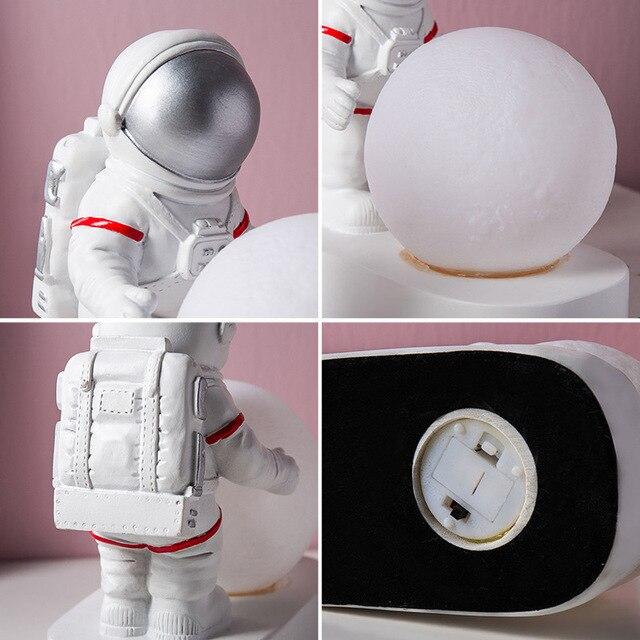 ночник с астронавтом в скандинавском стиле декоративный настольный фотография