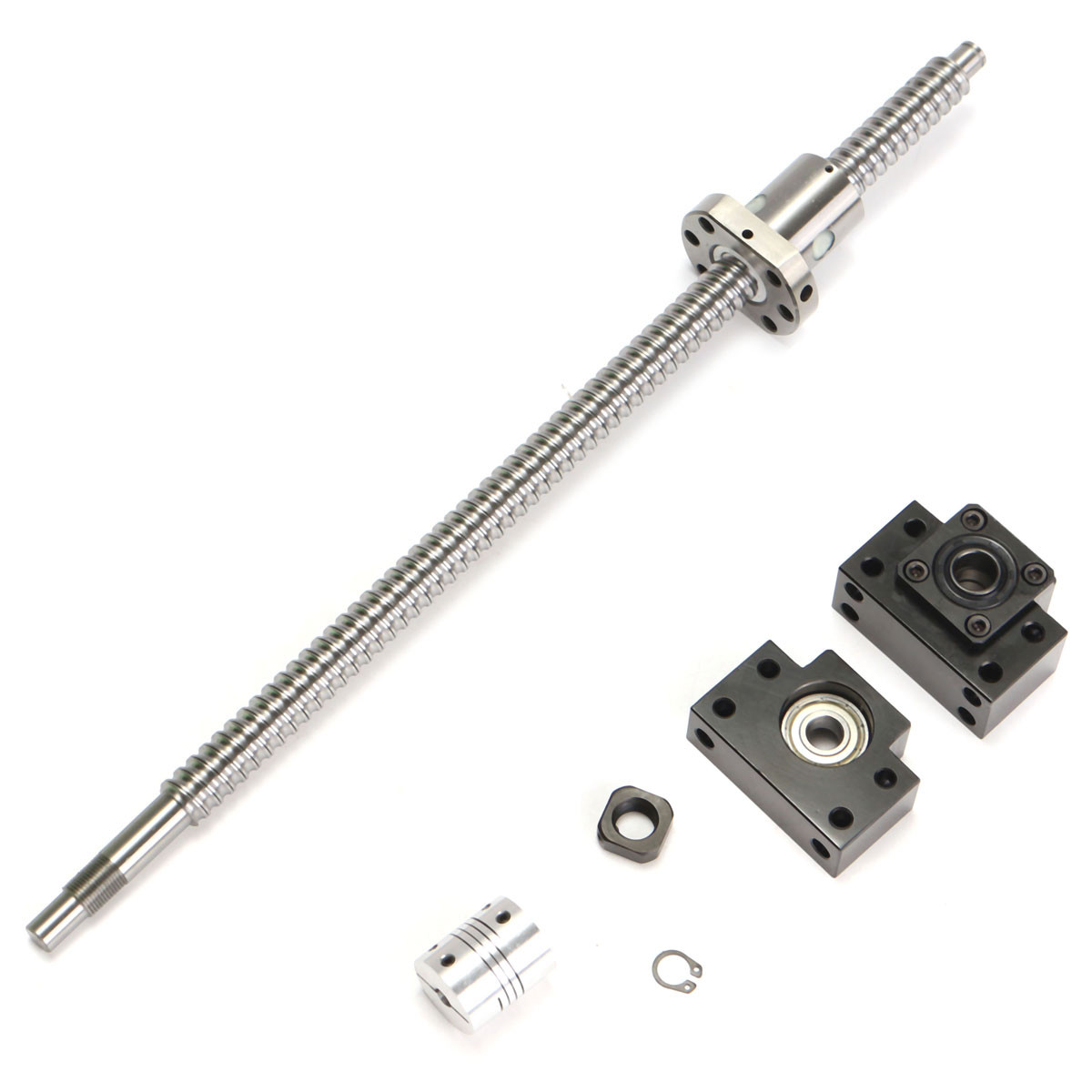WOLIKE 400mm SFU1605 Ball Screw with <font><b>BK12</b></font> BF12 Supports and 6.35x10mm Coupler for CNC Linear Guides image