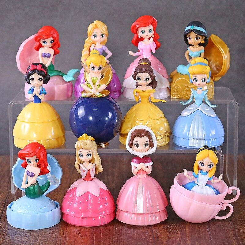 Image 2 - Princesa Brinquedo Bola Flor Fada Sereia Sino Cinderela Princesa Boneca PVC Action Figure toy Collectible Modelo Toy 12 pçs/setFiguras de ação   -