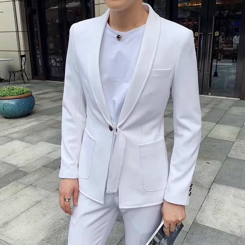 Fund Belt Business Affairs Leisure Time Small Suit Western-style Trousers Twinset Man Self-cultivation Man's Suit Pants 2pcs