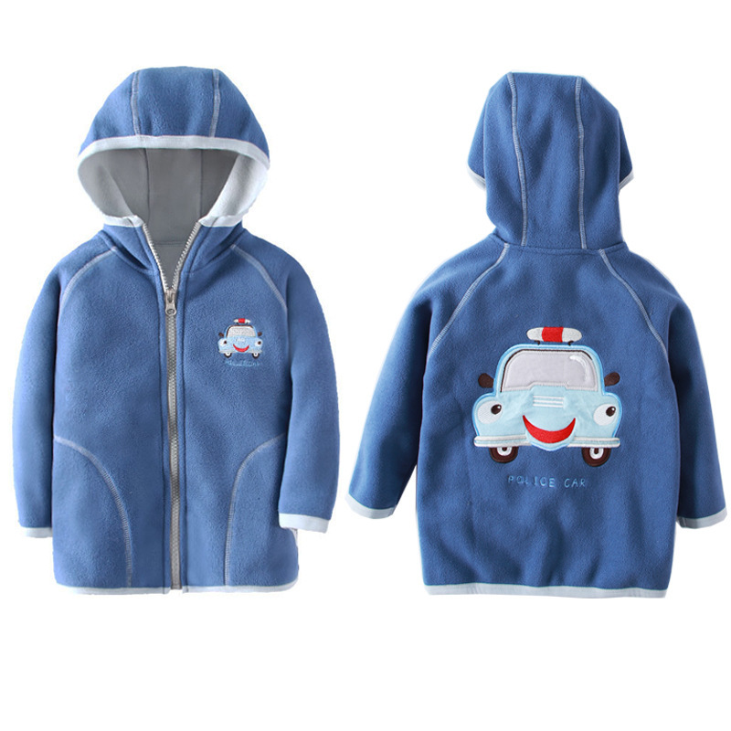 Jacket Kids Girl Hooded Long Sleeve Boy Outerwear Strawberry Embroidery Polar Fleece Coat Children Clothes For 18M-7 Years 3