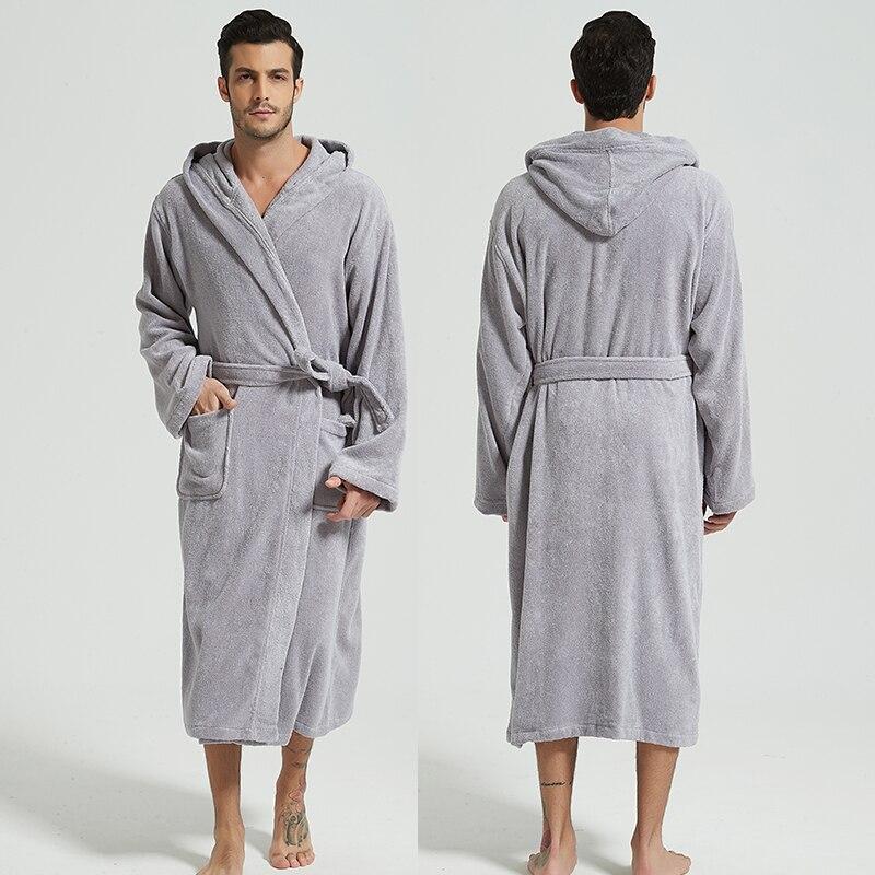 Hooded Men Bathrobe Men's Robe Winter Warm 100% Cotton Towel Male Home Hotel Nightgown Kimono Dressing Gown Brides Wedding Gift