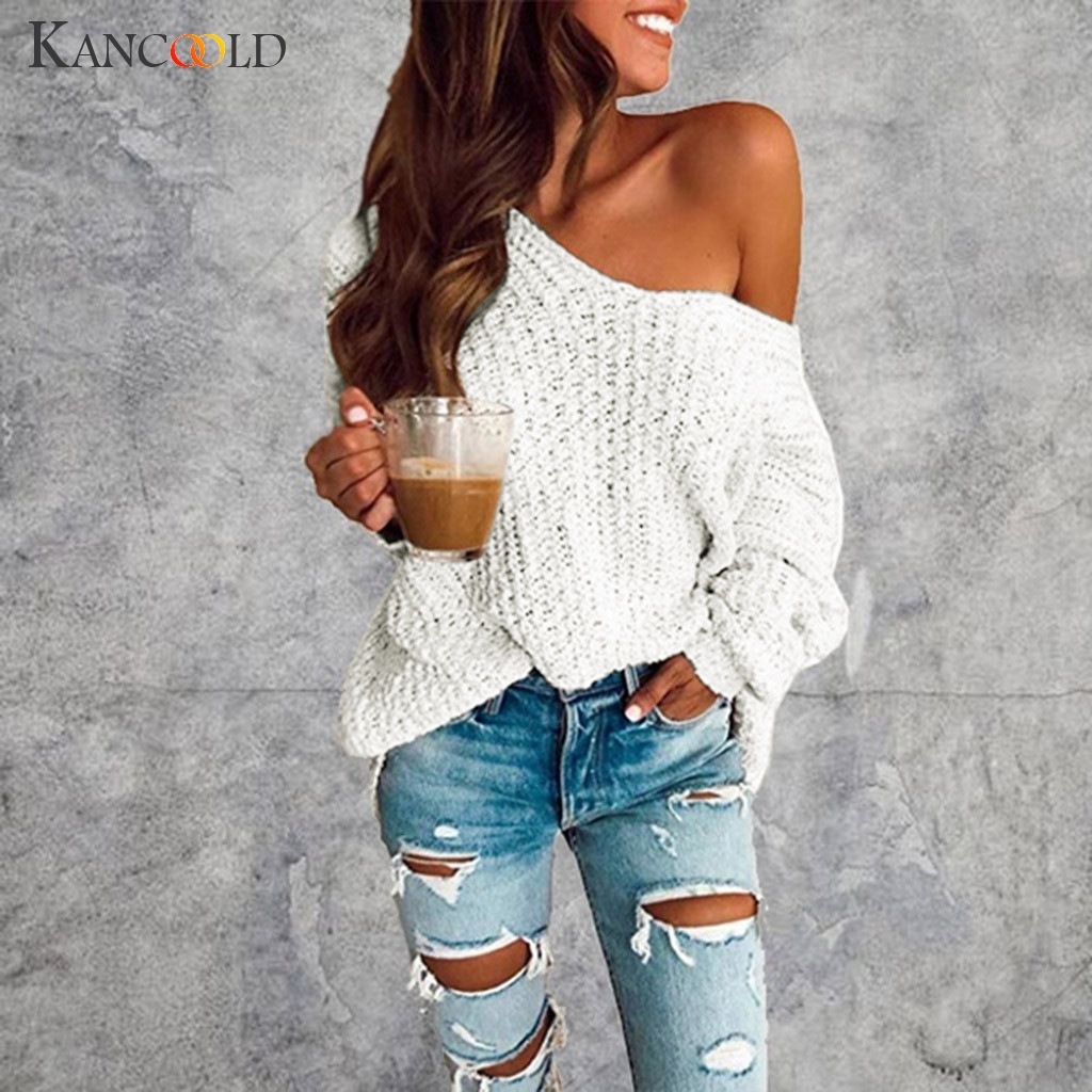 KANCOOLD Sexy One Shoulder Sweater Women's Fashion Knitted Sweater Tops Women Casual Slim Fit Pullovers SweaterLong Sleeve Solid
