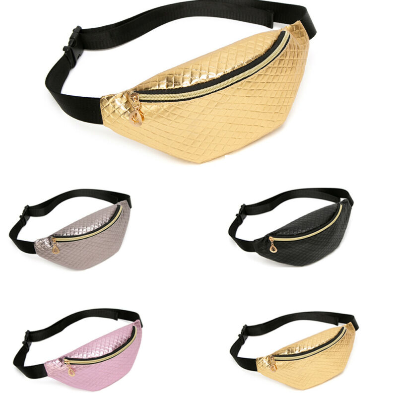 Women Fashion Funny Waist Belt Holographic Shiny Beach Laser PU Leather Waterproof Travel Sports Running Belt Bag Zipper