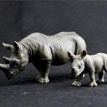 Children's Simulation Model Toy Safari World Africa Black Horned Black Rhinoceros Small Cub