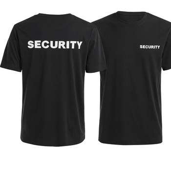 SECURITY T-Shirt Double Sided Printing Cotton O-Neck Short Sleeve Unisex T Shirt New Size S-3XL page one game over computer system dinosaur thermal design printing black 100% cotton o neck short sleeved men s t shirt