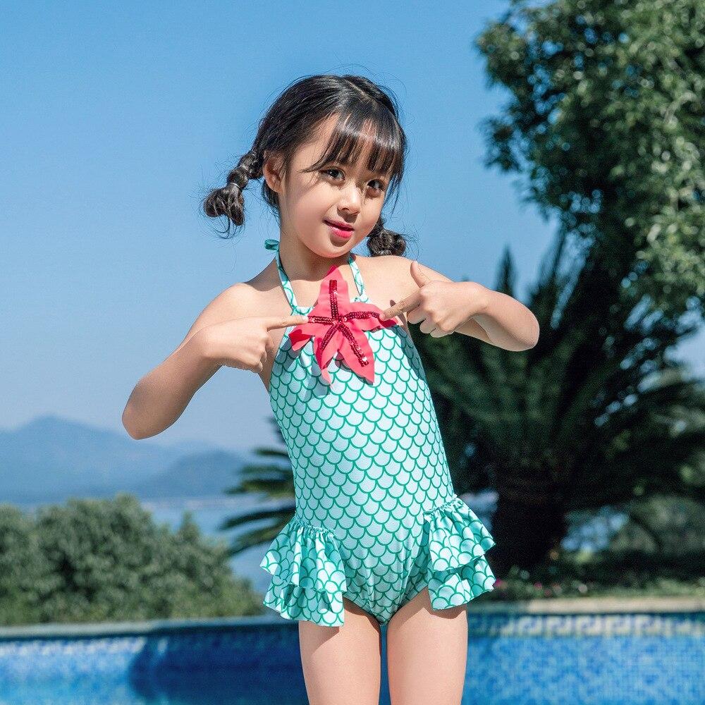 19 New Style One-piece Swimming Suit Scale Pattern Starfish Camisole Hot Springs Send Swimming Cap Girls Baby Girls KID'S Swimwe
