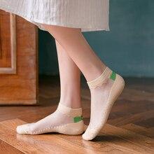 Women's Ankle Socks Transparent Invisible Socks Summer No Show Ankle half Lace Socks Non-slip Mesh Sheer Half Thin Socks 3/5Pair lace panel ruffles mesh sheer slip babydoll