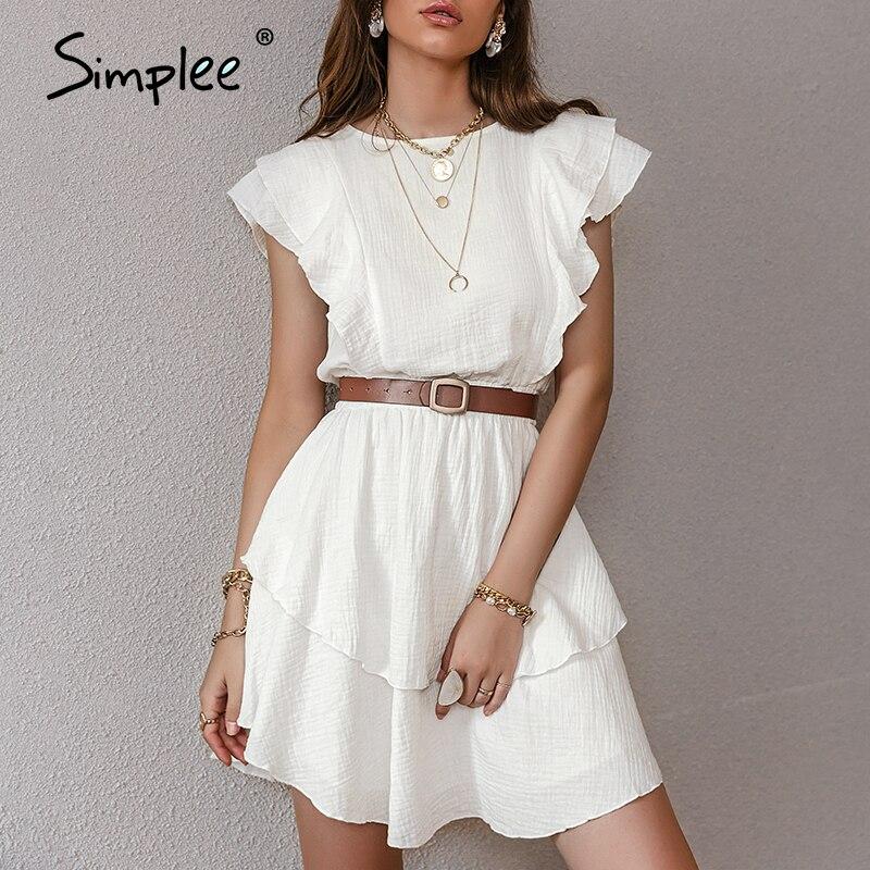 Simplee Licht Rosa Baumwolle Kleid Modische Einfarbig Kräuselte Mid-länge High-taillierte Kleid Ärmelloses Sommer Frauen Kleid NEUE