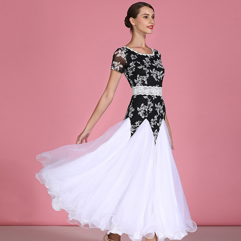 Ballroom Dance Dress Long Ballroom Dress Tango Dance Costumes Spanish Dress Flamenco Waltz Dress Short Sleeve Print Dress Dance