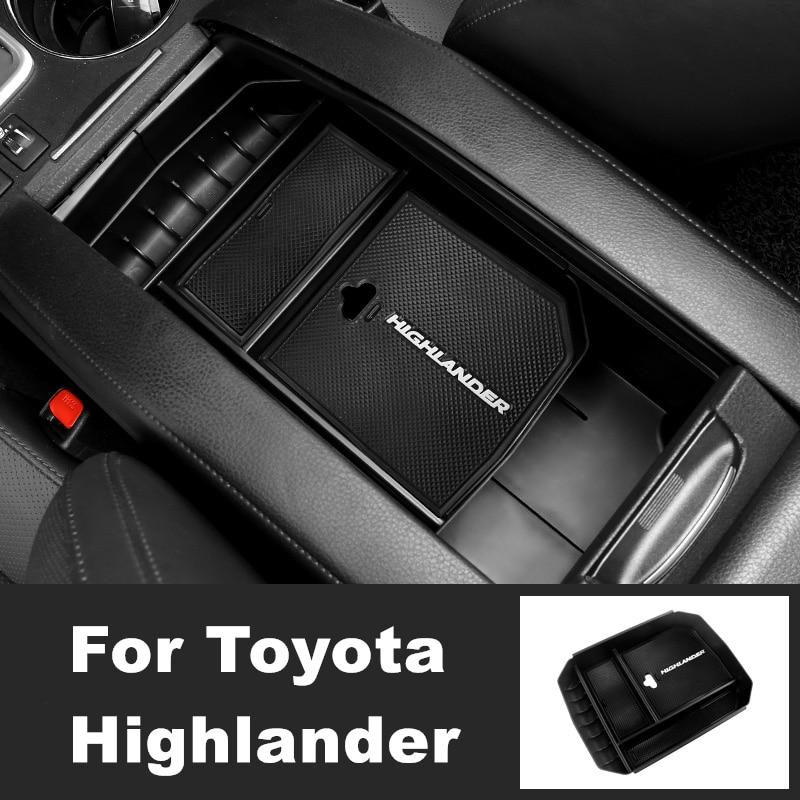 Автомобильный Центральный приставка, ящик для хранения, подлокотник для передней/задней двери, органайзер для Toyota high Lander 2015 2016 2017-2018, аксесс...