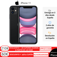 "Apple iPhone 11 Smartphone (64 GB ROM, 4 GB RAM, Black Color, 12 MP Rear Camera, 12 MP Selfie Camera, 6.1 ""Screen, iOS System, New, Free, Cheap) [Mobile Phone EU Version] Plaza España, Mobile, Mobile, Mobile Phone Free"