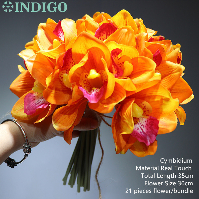 21 pcs Lot Sunset Cymbidium Orchid Bride Banquet Flower Real Touch Flower Bunch Wedding Party Home Table Flower Free Shipping in Artificial Dried Flowers from Home Garden