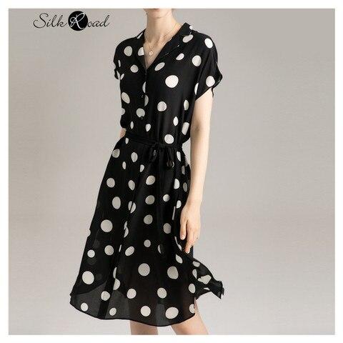 Promo Silviye Black And White Polka Dot Floral Silk Dress Mulberry Silk Waistband Shows Thin Temperament V-neck Short Sleeve A-line — stackexchange