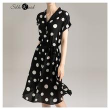 Черно белое шелковое платье в горошек silviye с цветочным рисунком