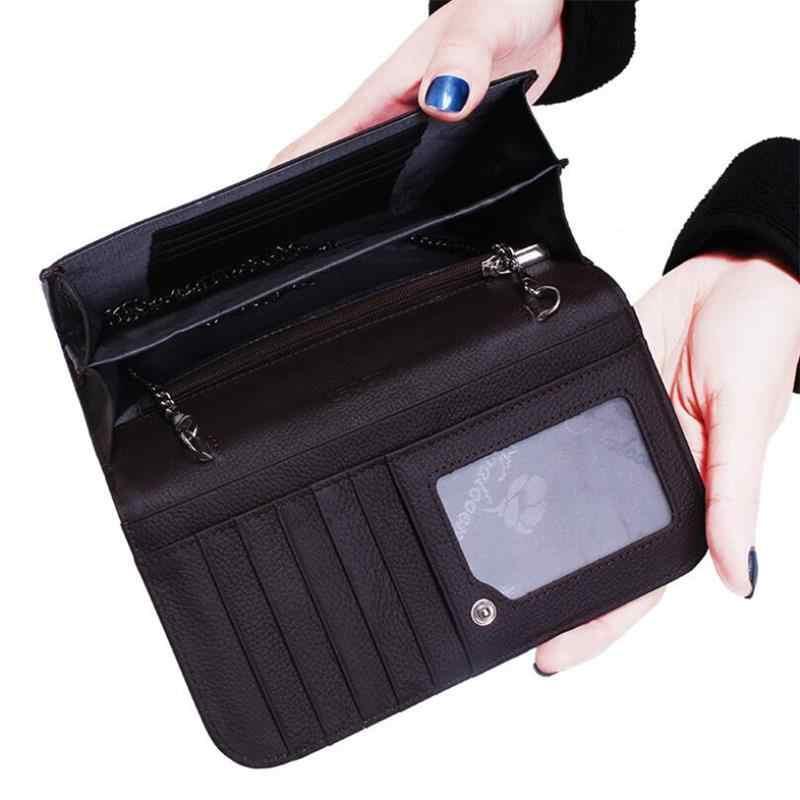 Lungo Delle Donne Del Raccoglitore 3 strati Borsa del telefono Multifunzione Femminile Catena di pelle di Serpente frizione Clip Dei Soldi Del Raccoglitore del Supporto di Carta di Cuoio Delle Donne