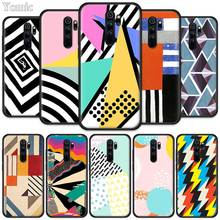 Retro Geometric Shape Patterns Fitted Case for Xiaomi Redmi Note 8T 6 7 8 K20 Pro 8A 7A 7S 6A Silicone Black Phone Bag Cover Coq pubg game fitted case for xiaomi redmi note 8t 6 7 8 k20 pro 8a 7a 7s 6a silicone black phone bag cover coque