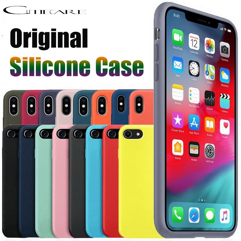 <font><b>Original</b></font> official <font><b>case</b></font> for <font><b>iphone</b></font> 11 Pro X Max Xs XR cover for apple <font><b>iPhone</b></font> 7 8 Plus 6 s Liquid silicone <font><b>case</b></font> no logo retail box image