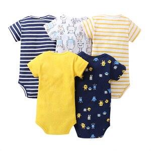Image 2 - cartoon monster baby bodysuit newborn boy girl clothes new born short sleeve onesie cotton unsisex body clothing 2020 5PCS/SET