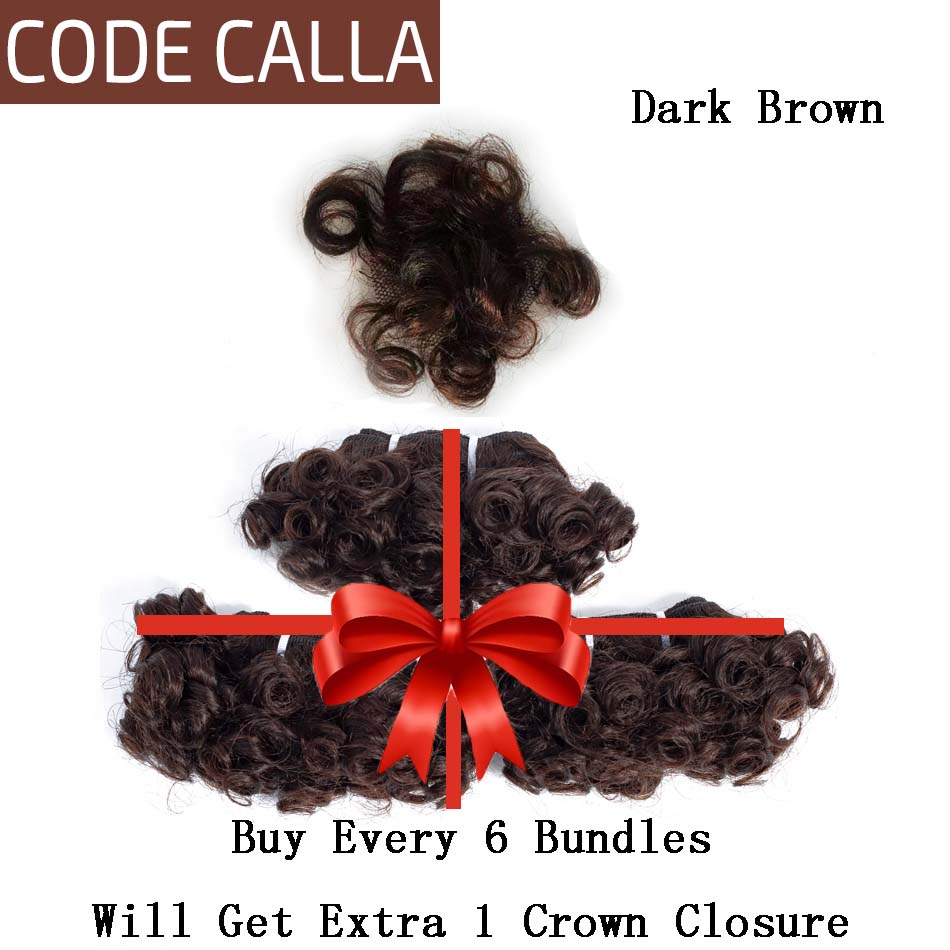 Code Calla Bouncy Curly Bundles Malaysian Remy Human Hair Weave Bundles Extensions Double Drawn Weft Natural Dark Brown Color
