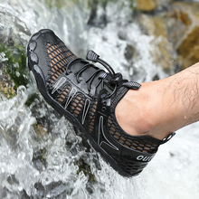 Męskie buty do wody Upstream trampki Outdoor Hiking wędkarstwo Aqua buty na plażę nadmorska siłownia boso buty oddychające Plus rozmiar tanie tanio VEAMORS Pasuje prawda na wymiar weź swój normalny rozmiar Spring2019 Gumką Początkujący Anti-śliskie Mesh (air mesh)