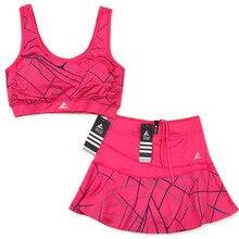 Женская спортивная теннисная короткая юбка-шорты для бадминтона с безопасными шортами полосатая теннисная юбка