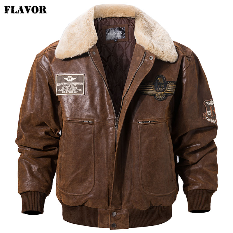 FLAVOR New Men's Real Leather Bomber Jacket With Removable Fur Collar Genuine Leather Pigskin Jackets Winter Warm Coat Men
