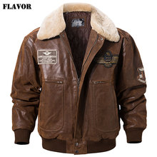 FLAVOR New Mens Real Leather Bomber Jacket with Removable Fur Collar Genuine Leather Pigskin Jackets Winter Warm Coat Men