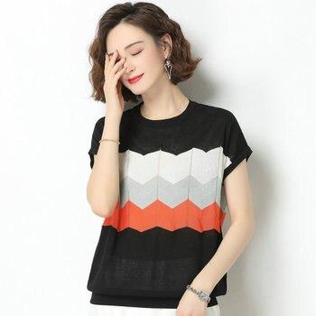 цена на Summer Women Elegant Woven Tops Yellow Red White Black Cross Wave Stripe Color Patchwork Blouse Woman Short Sleeve Linen Top New