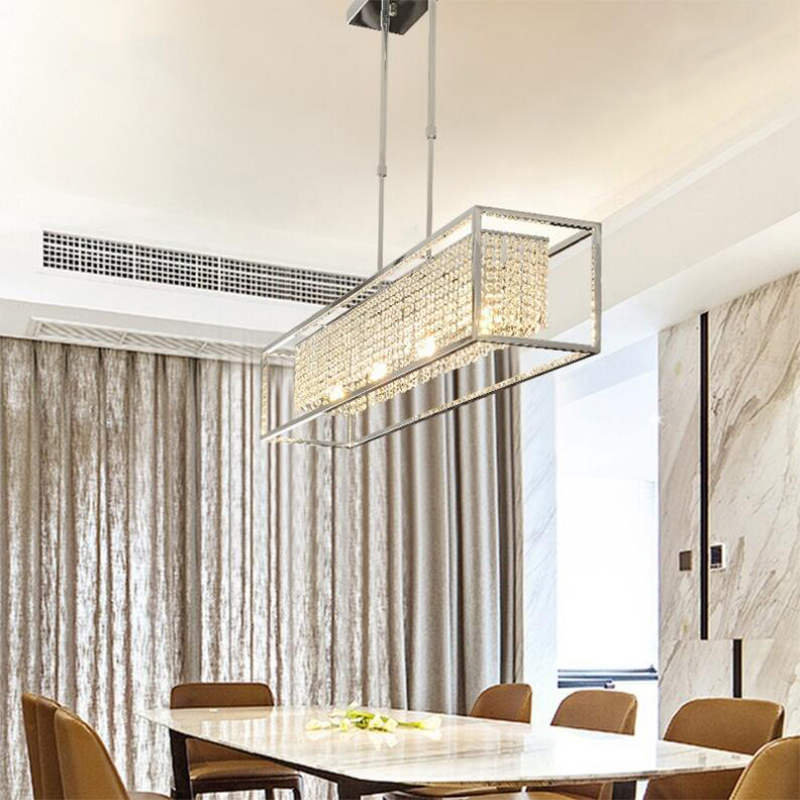 Rectangle Modern Crystal Chandelier For Dining Room Luxury Kitchen Island LED Crystal Chandelier Home Decoration LED Lighting