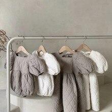 Комбинезоны для новорожденных девочек в Корейском стиле с хлопковой подкладкой платье принцессы с пышными рукавами комплекты для младенце...