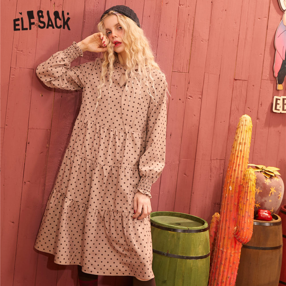 ELFSACK Apricot Polka Dot Neckerchief Casual Dresses Women 2020 Spring Vintage Ruched Lantern Sleeve A Line Ladies Daily Dress