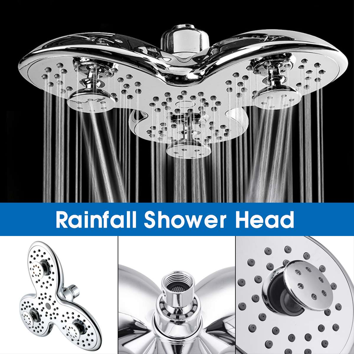 10 Inch ABS Bathroom Shower Head Petal Shape 3 Functions Bathroom Top Shower Head Rainfall Jetting Shower SPA Shower Head