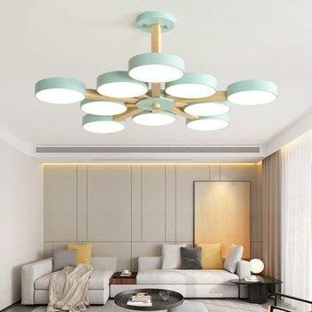 220V Светодиодный светильник с металлическим абажуром для гостиной современные потолочные люстры деревянные люстры комнаты подвесные свети...