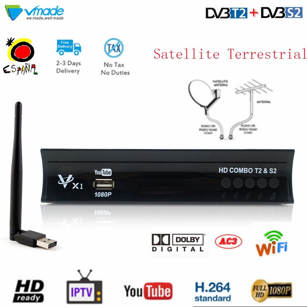 DVB-T2 + s2 combo h.264 suporte 3d interface cccam iptv dolby receptor satélite terrestre hd sintonizador de tv digital 1080 p conjunto caixa superior