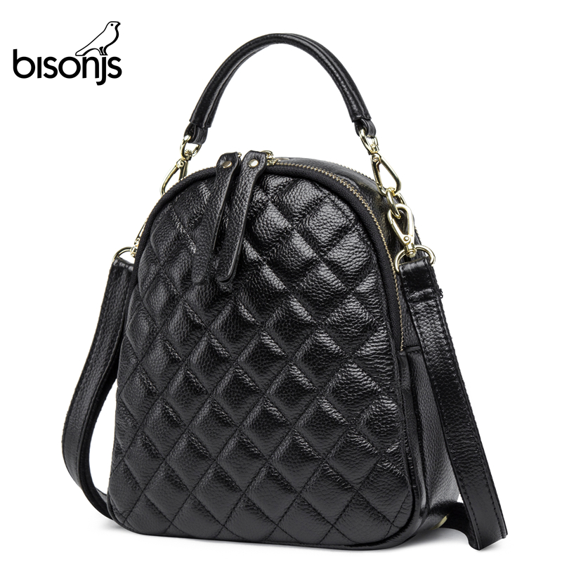 BISONJS женские кожаные рюкзаки, высокое качество, женский рюкзак, дорожная сумка из натуральной кожи, сумки для девочек, Классическая школьная...
