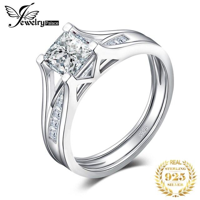JPalace 2ct prenses nişan yüzüğü seti kadınlar için 925 ayar gümüş yüzük alyanslar kanal gelin seti gümüş 925 takı