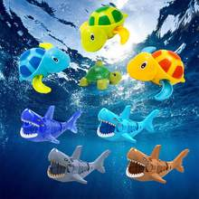 Cute Cartoon Animal Tortoise Classic Baby Shark Water Toy Infant Swim Turtle Wound-up Chain Clockwork Kids Beach Bath Toys zk26(China)