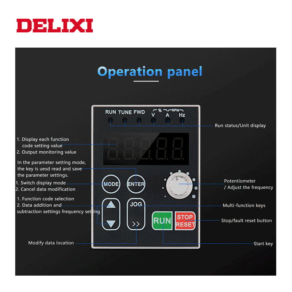 Image 3 - DELIXI AC 220V 0.4KW/0.75KW/1.5KW/2.2KW single phase VFD inverter drives for motor Speed Control 50/60HZ DC frequency converter-in Inverters & Converters from Home Improvement