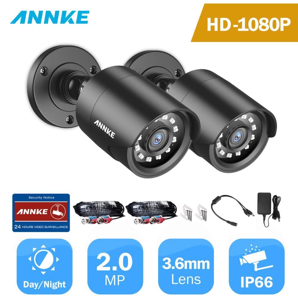 ANNKE 1080P TVI Security Camera 2pcs 2MP Bullet Kit Outdoor IP66 Weatherproof Housing 66ft Super Night Vision Smart IR CCTV Cam