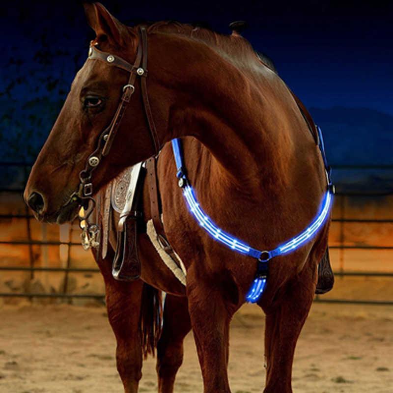 LED At Dizgin Yular Göğüs Naylon Dokuma LED At Yaka Gece Görünür At sürüş donanımları At Binme Binicilik Güvenlik